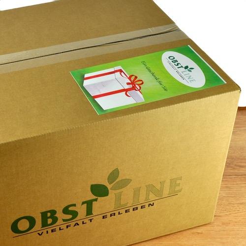 Geschenkaufkleber auf Geschenkbox